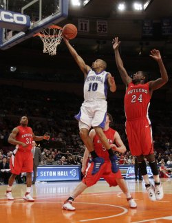Seton Hall Pirates Jordan Theodore at the NCAA Big East Men's Basketball Championships in New York