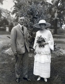 Wedding portrait of U.S. President Truman and Bess Truman