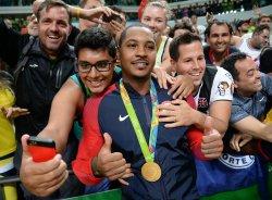 Carmelo Anthony of the United States celebrates at Rio Olympics