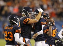 Bears celebrate touchdown against Packers in Chicago