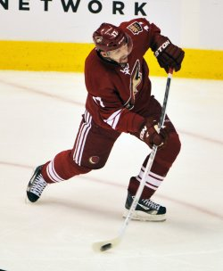 Vrbata shoots and scores during first period of second round action of the Stanley Cup playoffs in Arizona