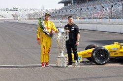 Ryan Hunter-Reay wins the 98th Indianapolis 500 at the Indianapolis Motor Speedway