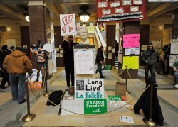 Protesters gather in capitol in Madison, Wisconsin