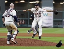 Astros reliever McCullers, Jr. celebrates win in the ALCS