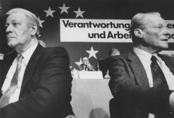 Willy Brandt with rival Helmut Schmidt