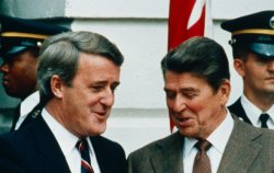 President Ronald Reagan and Canadian Prime Minister Brian Mulroney chat outside the White House