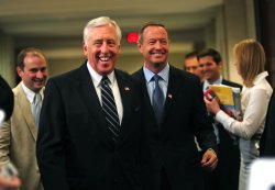 Rep. Steny Hoyer (D-MD) and Mayor Martin O'Malley speak on the budget negotiations in Washington