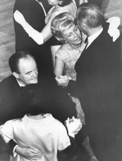 President and Mrs. Lyndon Johnson and the Humphreys at an Inaugural Ball at the Mayflower Hotel