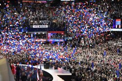 Balloons fall at final session at the GOP convention in Cleveland