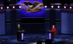 Democrat Hillary Clinton and Republican Donald Trump face off during the first Presidential Debate at Hofstra University
