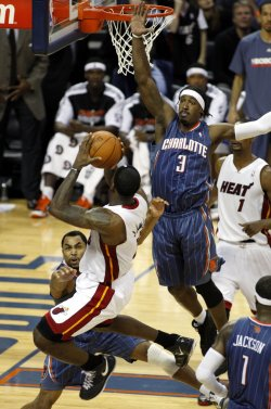 LeBron James in action as the Miami Heat play the Charlotte Bobcats