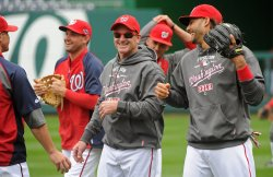 The Washington Nationals Practice Before Game 3 of the NLDS in Washington
