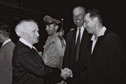 File Photo of Israeli Leader Shimon Peres And Prime Minister David Ben Gurion