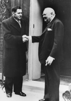 Andrei Gromyko shakes hands with Winston Churchill
