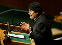 Bolivian President Evo Morales speaks at Millennium Development Goals Summit at the United Nations.