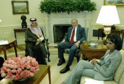 BUSH MEETS WITH THE FORIGN MINISTER OF SAUDI ARABIA