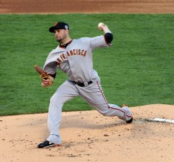 Giants' pitcher Jonathan Sanchez in game 3 of the World Series in Texas