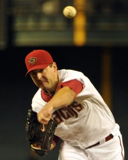 Diamondbacks Saunders delivers a pitch in the first inning in Arizona
