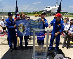 "NASA's Space Shuttle ""Atlantis"" crew attends photo opportunity at the Kennedy Space Center."