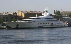 The yacht of Russian billionaire Roman Abramovich in St Petersburg