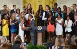 President Barack Obama honors the 2012 NCAA WomenÕs Basketball Champion Baylor Bears in Washington