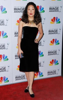 Actress Sandra Oh arrives at the 43rd NAACP Image Awards in Los Angeles