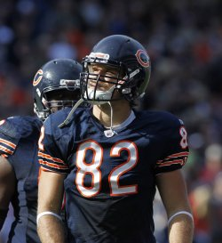 Bears Olsen looks at crowd against Seahawks in Chicago