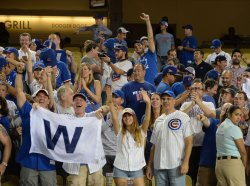Cubs fans celebrate win over the Dodgers in Game 5 of the NLCS