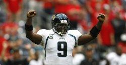 Jacksonville Jaguars Quarterback David Garrard Celebrates His Team's Victory at Reliant Stadium in Houston