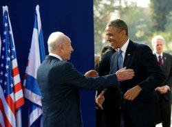 File Photo of Israeli President Shimon Peres Greeting US President Barak Obama