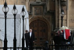 Coffin of Margaret Thatcher taken to Westminster for Final Blessing