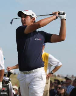 Matteo Manassero on the 11th hole during the Open Championship in England.
