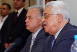 PALESTINIAN PRESIDENT GIVES PRESS CONFERENCE