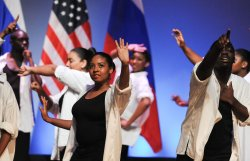 First Lady Michelle Obama and Russian First Lady Svetlana Medvedeva attend performance at public high school in Washington