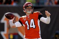 Bengals quarterback Andy Dalton throws under pressure