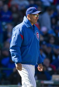 Cubs Manager Sveum Walks Out to Mound on Opening Day in Chicago