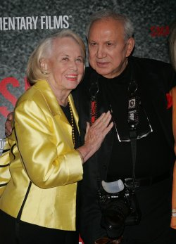 "Liz Smith and Ron Galella arrive at the ""Smash His Camera"" Premiere in New York"