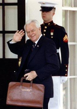 Senator Robert Byrd arrives at the White House.