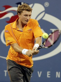 Denis Istomin of Uzbekistan at the U.S. Open Tennis Championships in New York