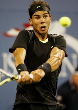 Rafael Nadal takes on Feliciano Lopez at the U.S. Open in New York