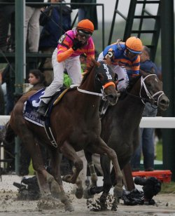 "Jockey Jose Valdivia Jr. and Horse ""Ruler On Ice"" win the 143rd Belmont Stakes in New York City"