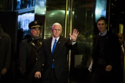 Mike Pence leaves Trump Tower