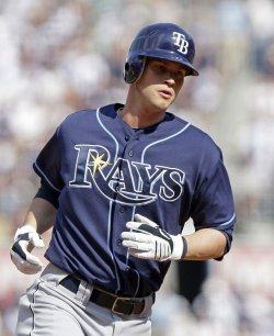 Tampa Bay Rays Reid Brignac runs the bases after hitting a 2-run homer at Yankees Stadium in New York