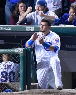 Cubs Schwarber cheers against Dodgers in NLCS