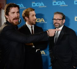 Christian Bale, Ryan Gosling and Steve Carrell appear backstage at the 68th annual Directors Guild of America Awards