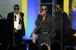 Ricky Bell, Ralph Tresvant and Bobby Brown perform at the Soul Train Awards 2012 in Las Vegas