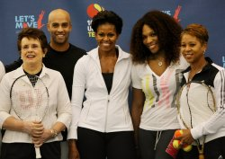 "First Lady Michelle Obama participates in ""Lets Move!"" tennis clinic at the U.S. Open in New York"