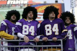 Vikings fans dress as Randy Moss up at Gillette Stadium in Foxboro, MA.