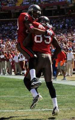 Tampa Bay Buccaneers Antonio Bryant celebrates touchdown in Landover, Maryland