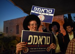 "Ultra-Orthodox Jews Hold Signs In Hebrew Reading ""Trump"" At A Rally In Jerusalem"